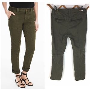 WHBM The Straight Crop Green Military Pants Size 8